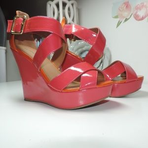 Call It Spring! Faux Patent Leather Bright Wedge